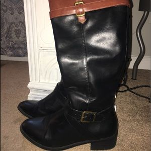 Black & brown riding boots